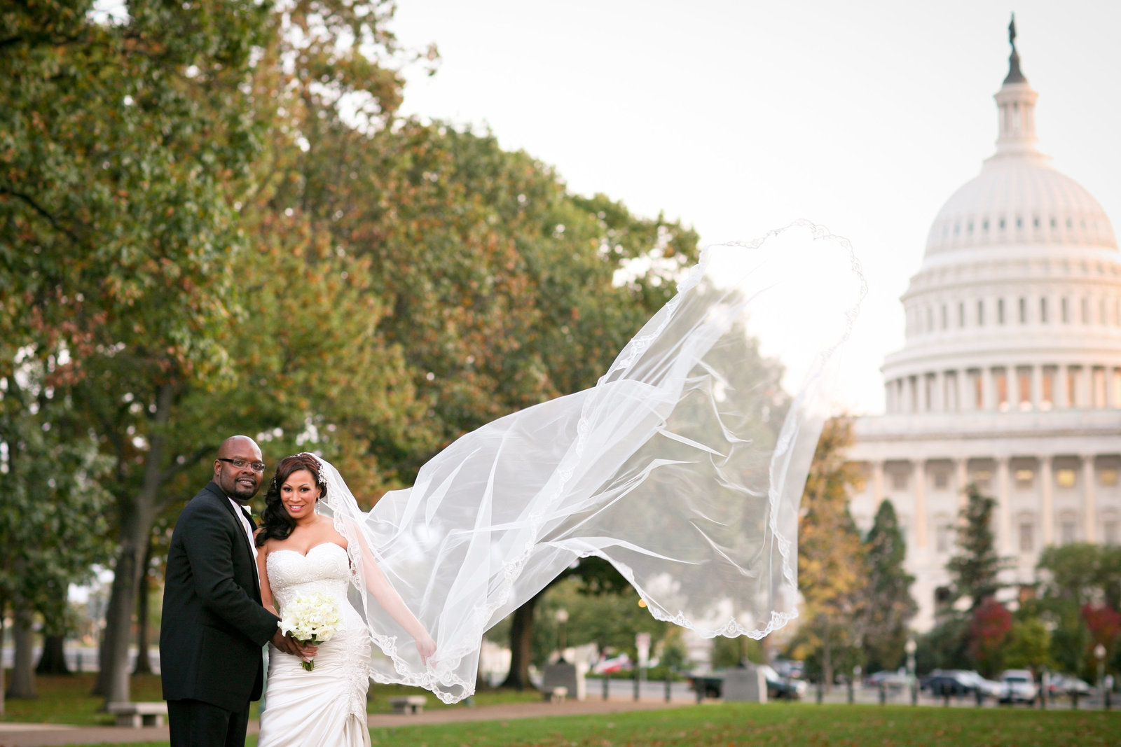 Wedding Portrait in front of DC Capitol