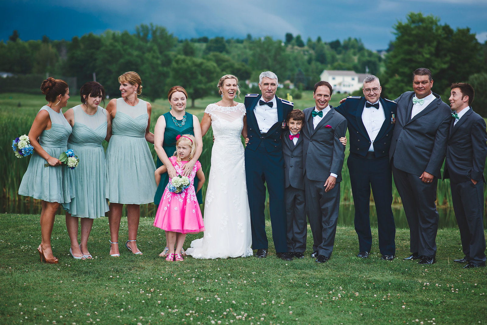 bridal party on golf course, wedding in Vermont