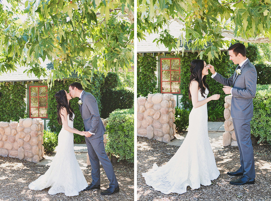 Temecula wedding bride and groom have a first look