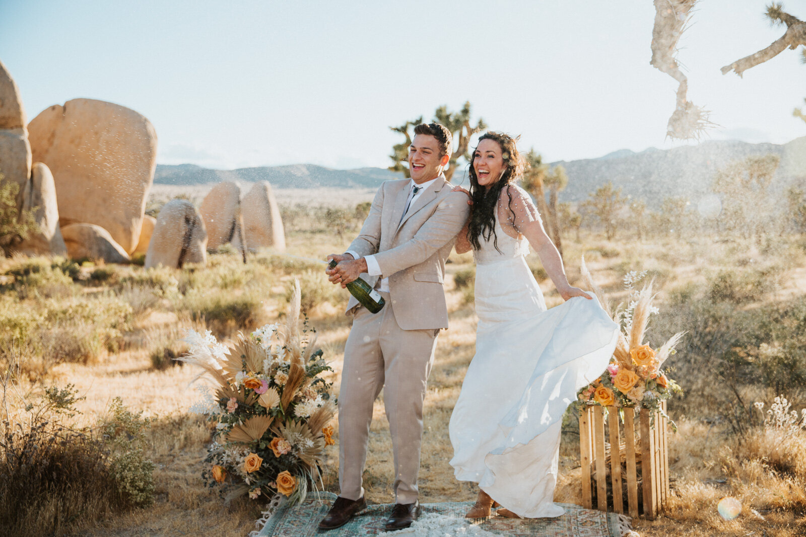 fun and beautiful elopement at Joshua Tree