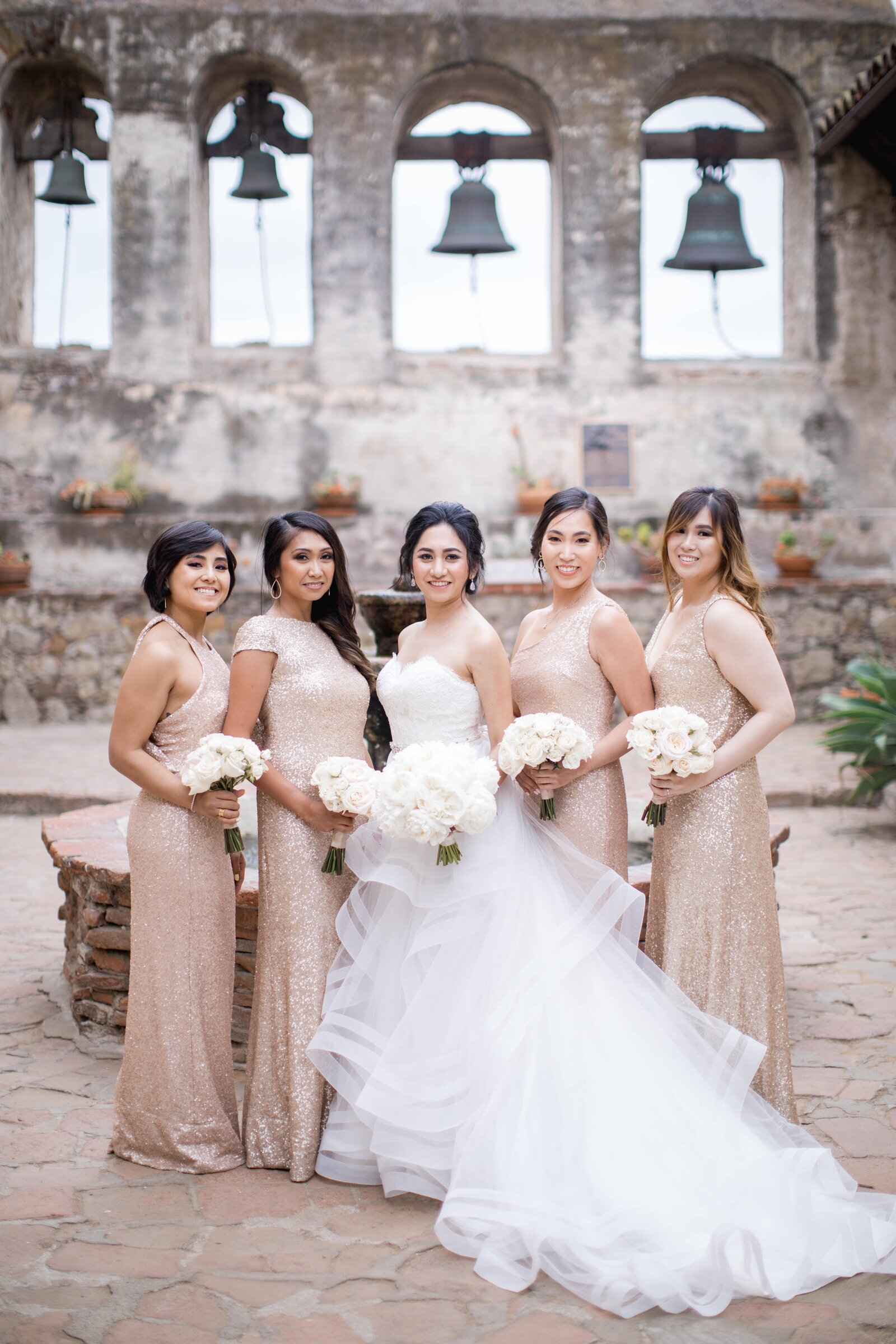 bride-and-bridesmaids-champagne-dresses