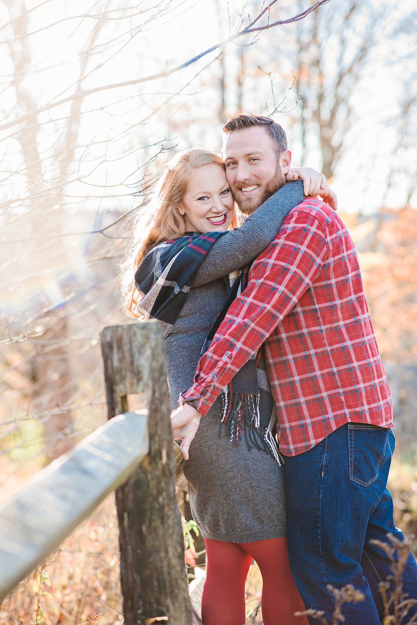 engagement photos at Christmas tree farm