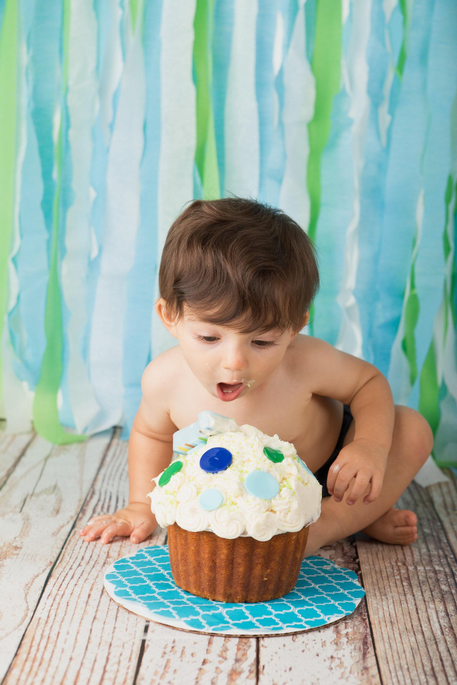 First birthday cake smash professional photos by Hudson Valley NY photographer Cornwall photo studio