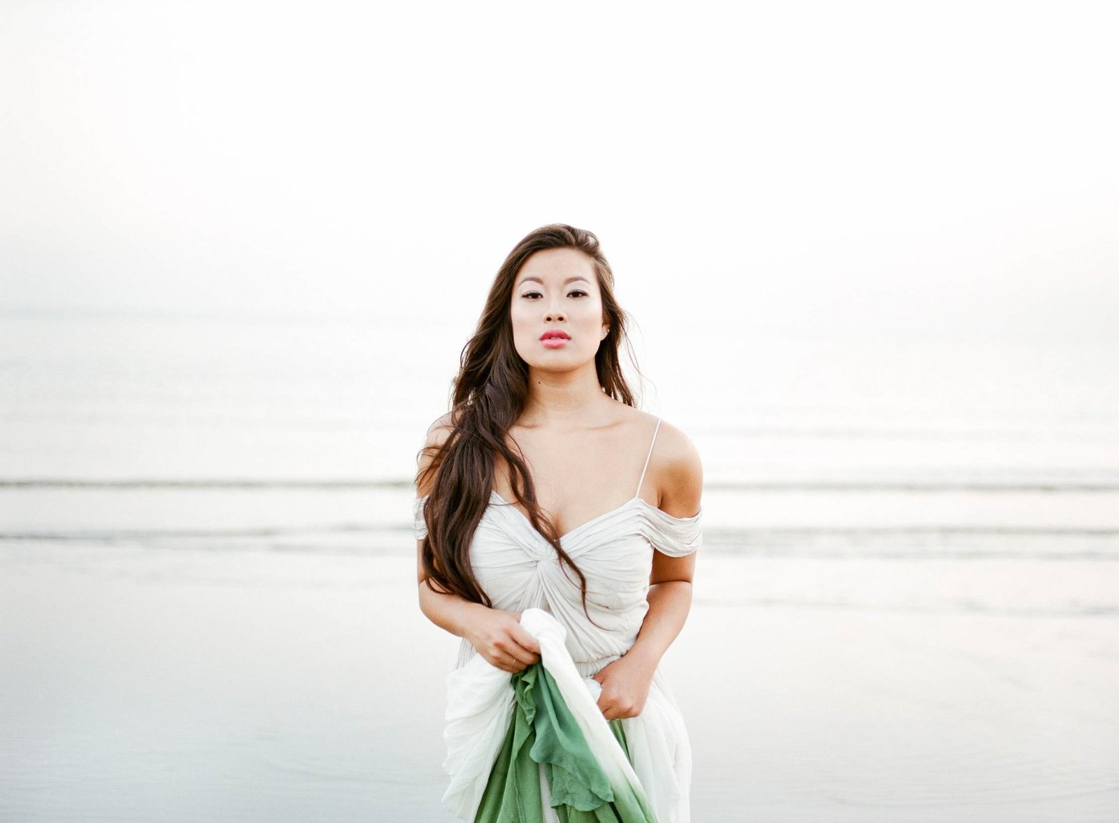 Film photography beach wedding bridal shoot dip dye dress