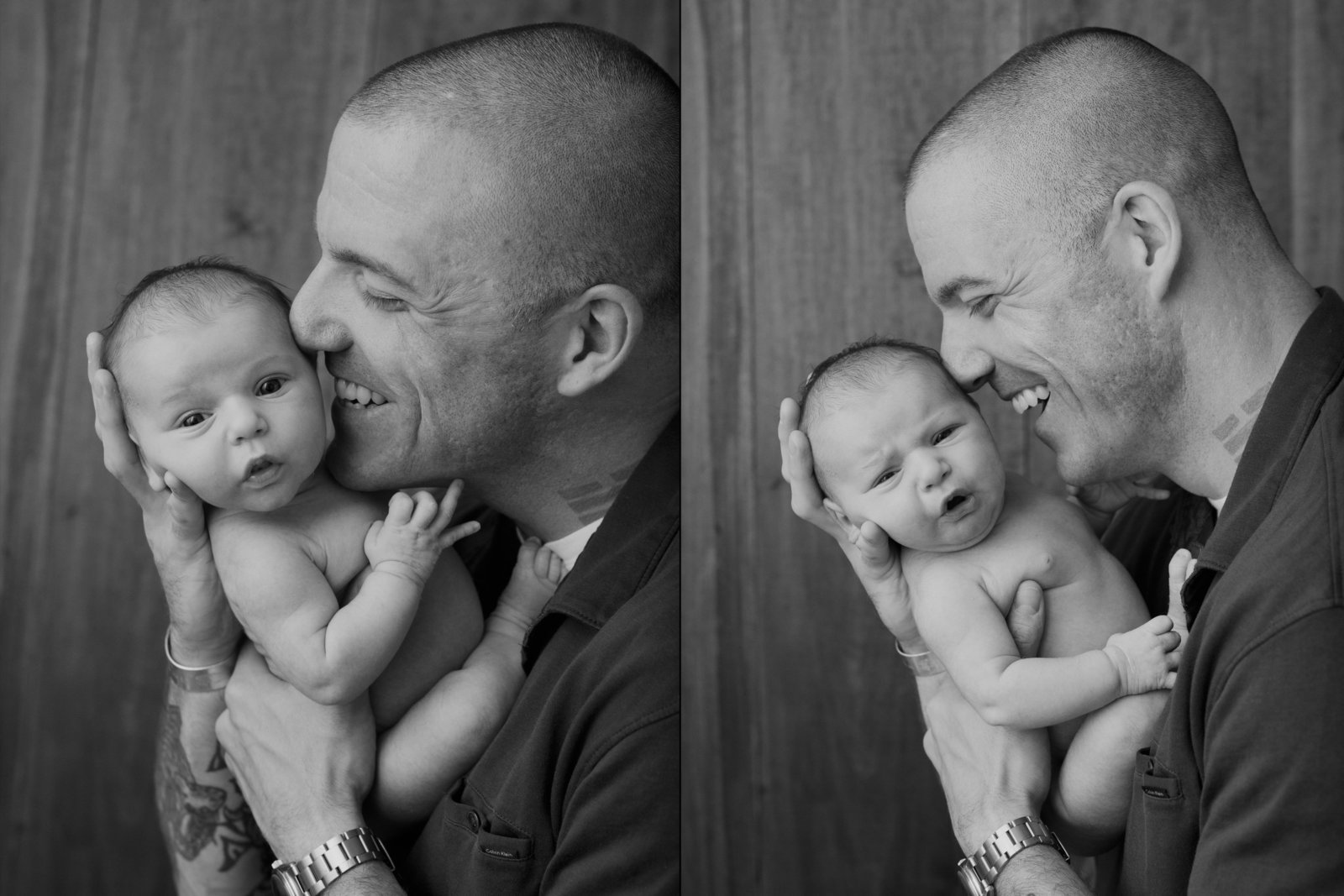 Funny dad and newborn baby photos from West Point by Hudson Valley professional photographer in Cornwall NY