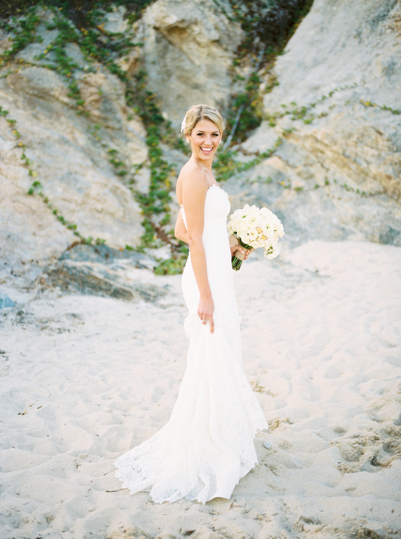 Cabo Mexico Destination Wedding, Beautiful bride on beach, Fine Art Film