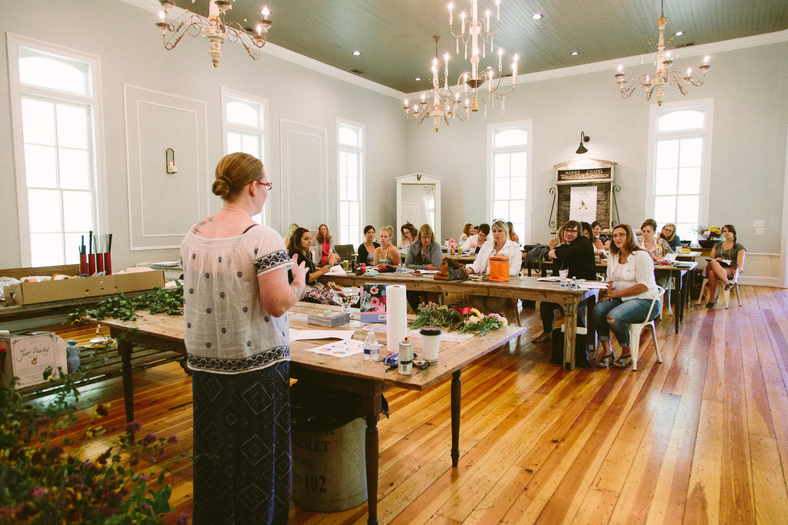 Holly Chapple, Chapel designers Floral workshop at The Parlour in Chapel Hill, North Carolina
