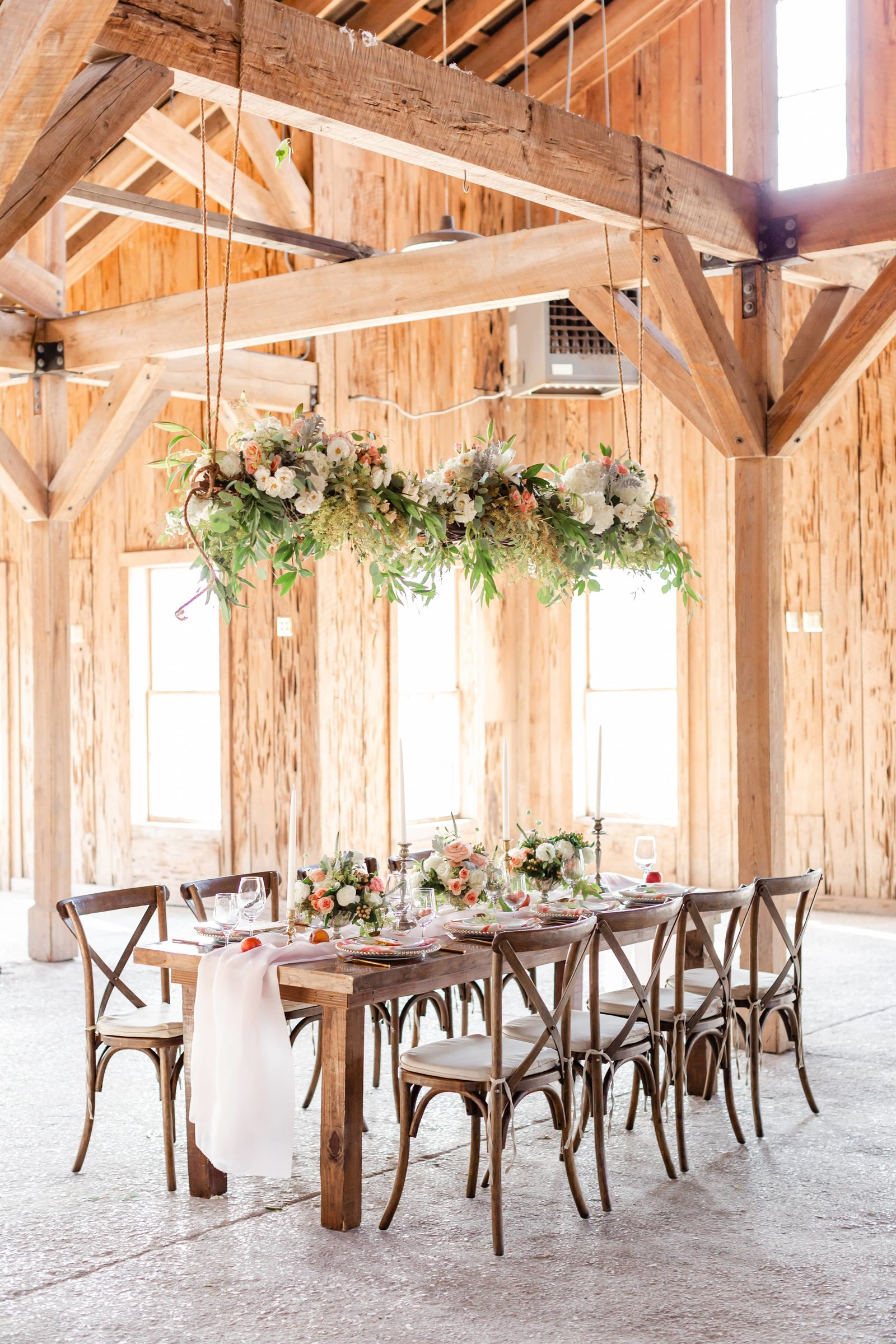 boone-hall-plantation-wedding-reception-hanging-florals