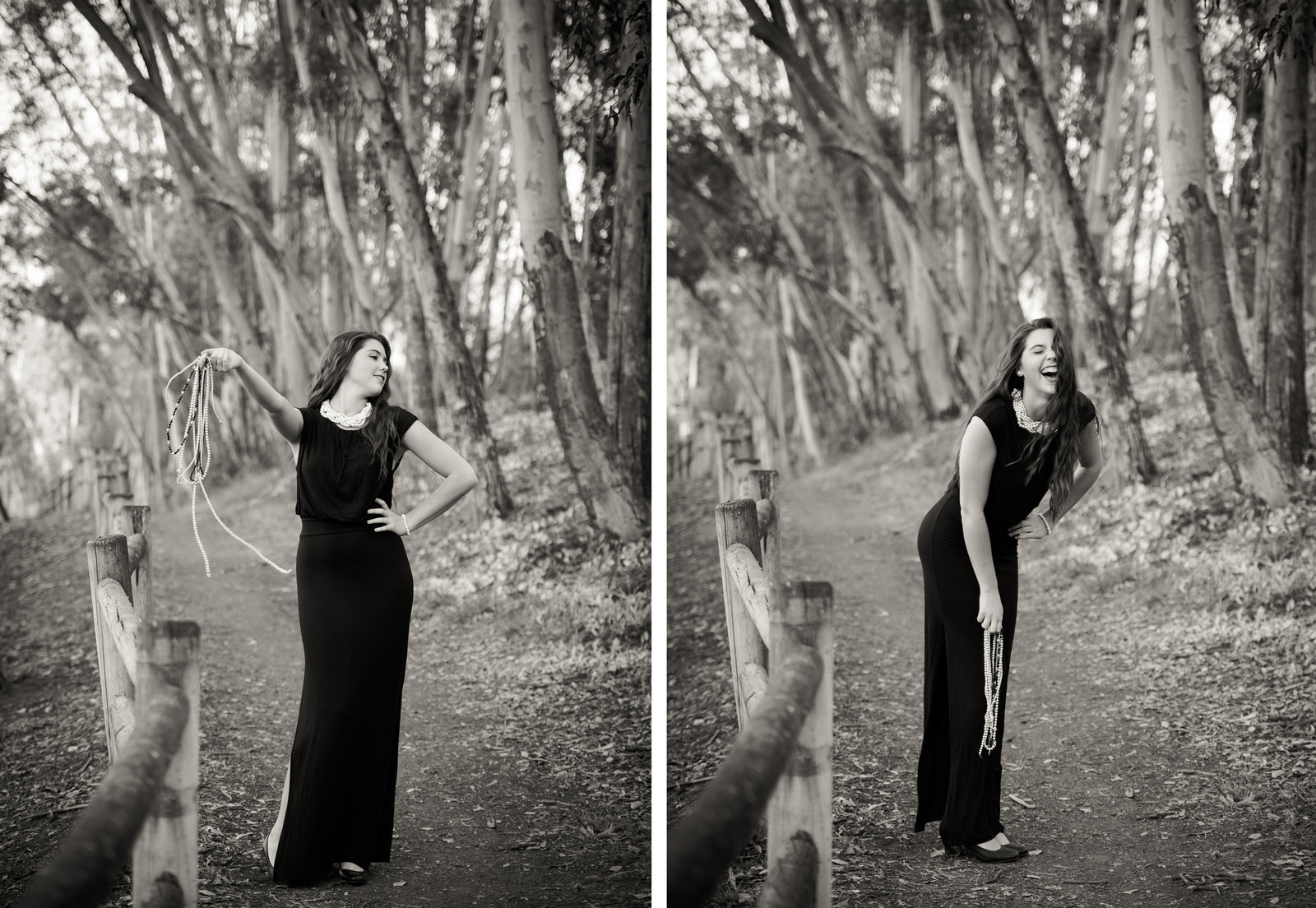 Black and white high school senior photography of teenager in black dress with pearls in Laguna Niguel Regional Park