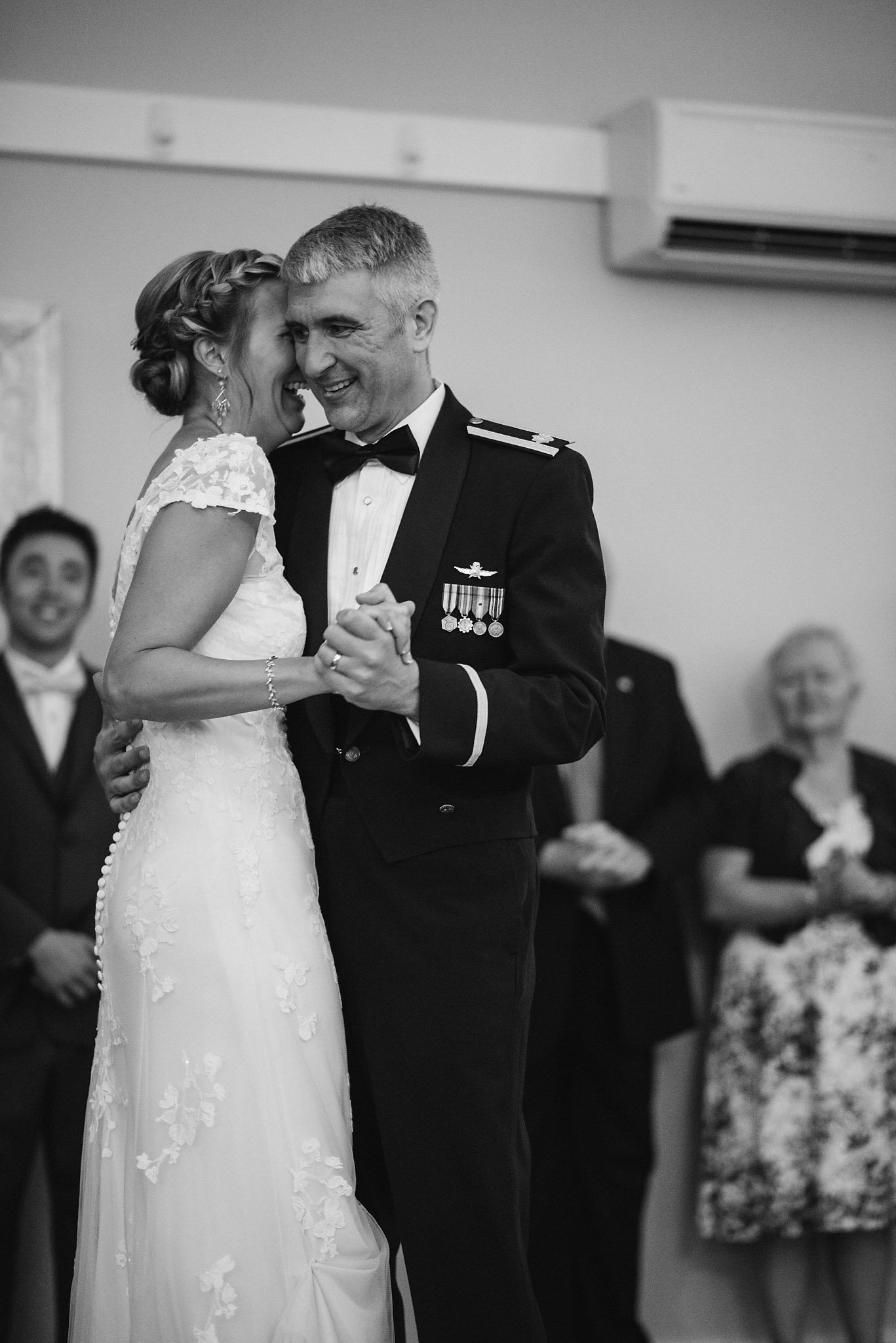 black and white bride and groom first dance, Vermont wedding photgorapher