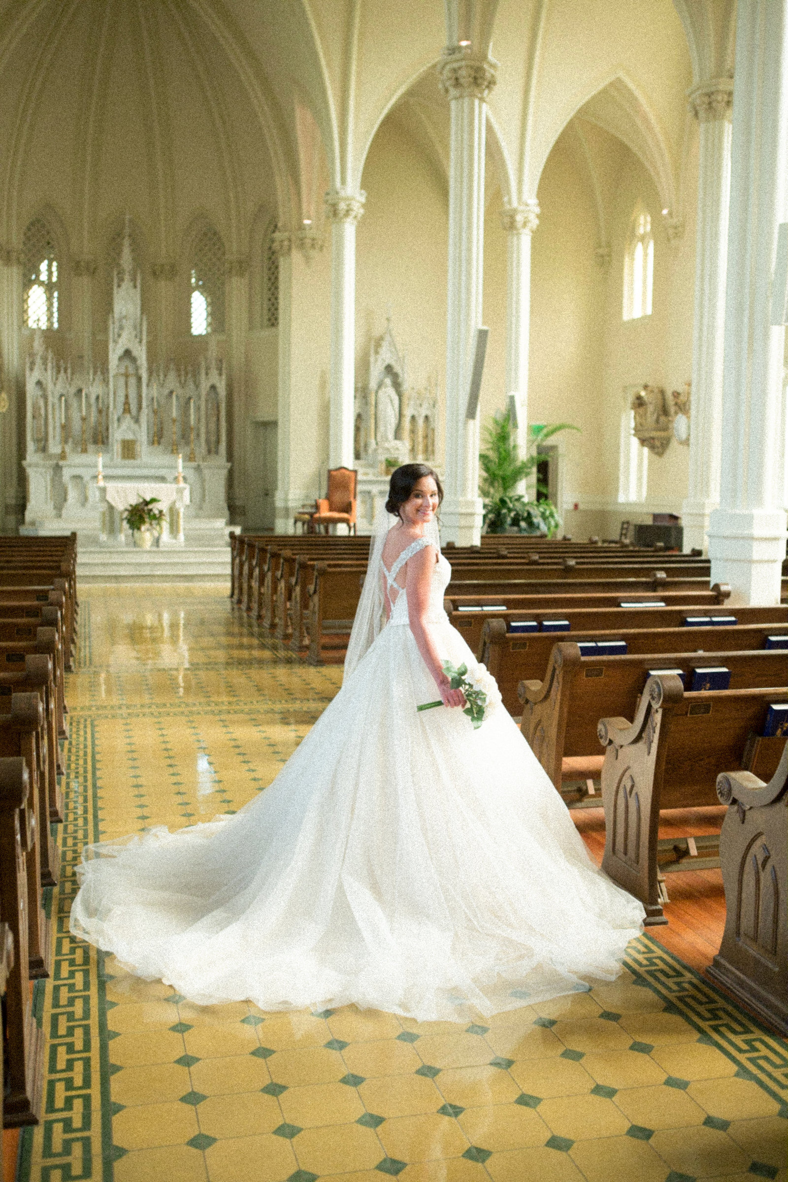 Kayla Szymanski bridal portait at St. Joseph Catholic Church at Springhill College in Mobile, Alabama.