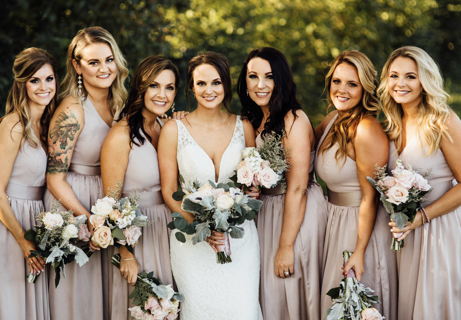 Nashville bride with bridesmaids outdoor, sunny group portrait