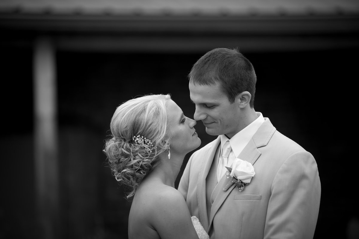 bride and groom sharing romantic moment norfolk nebraska