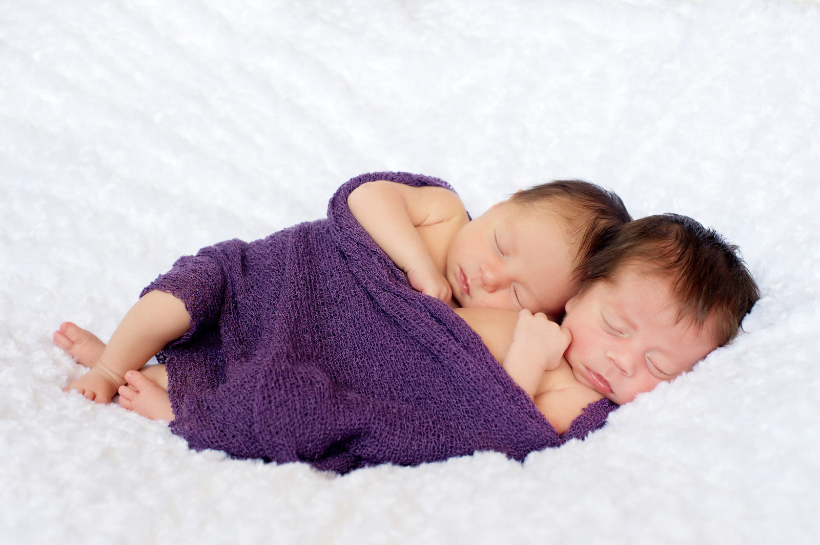 twin newborn sisters sleep wrapped in purple