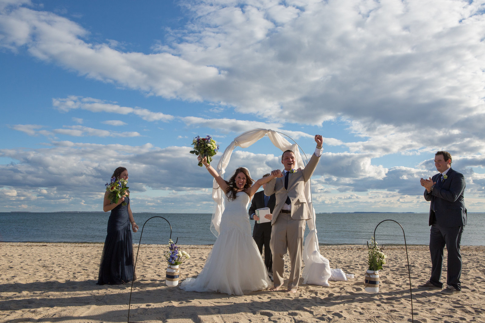 CT Wedding photography  of wedding party on the beach
