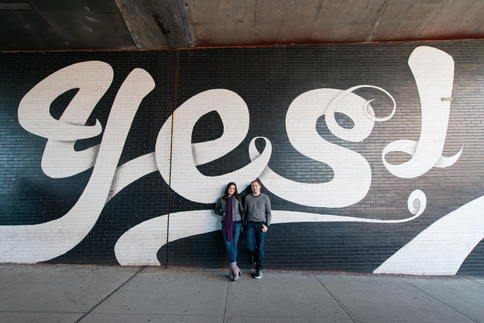 Brooklyn Engagement with Yes Wall
