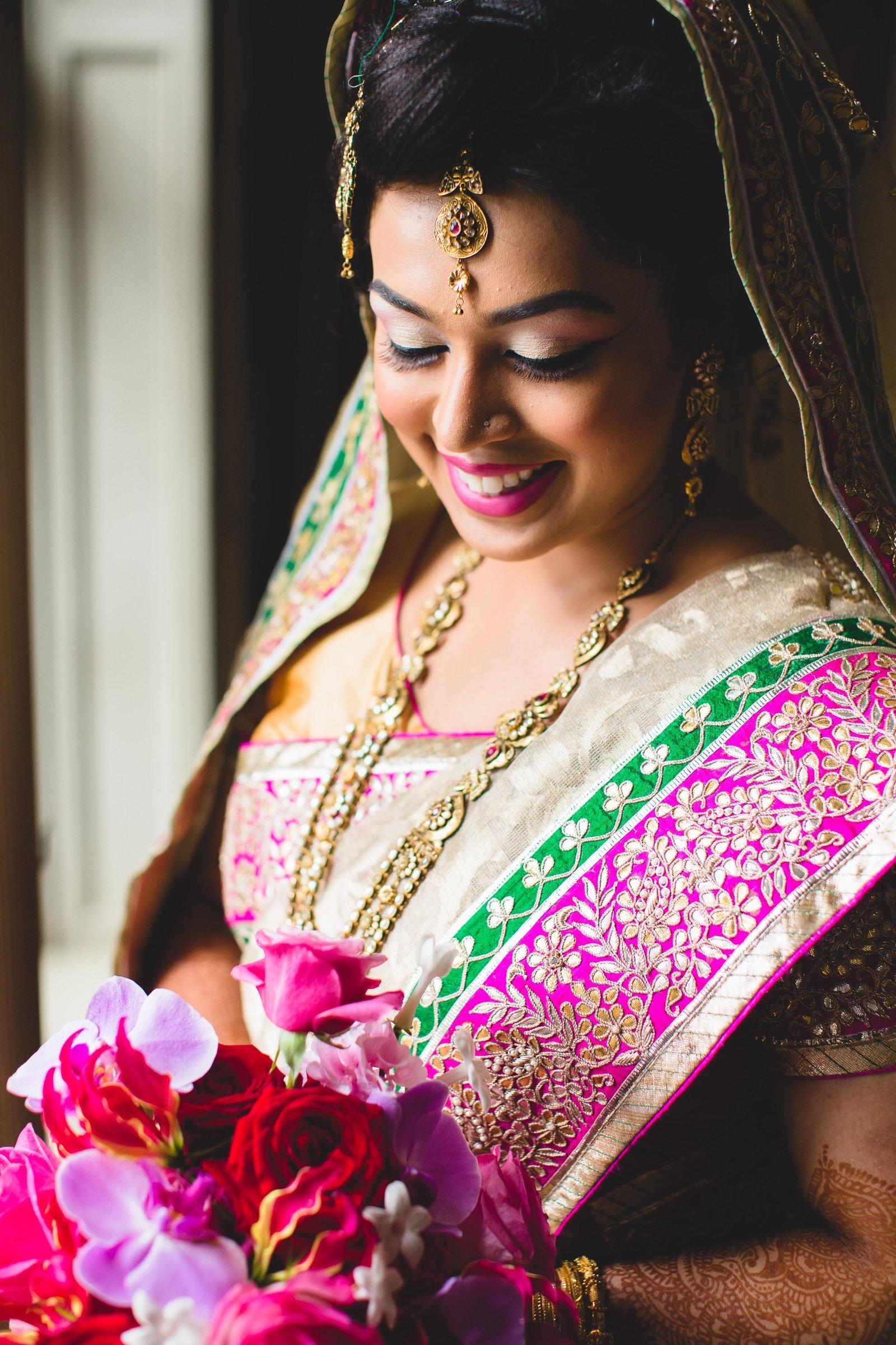 pink green gold sari