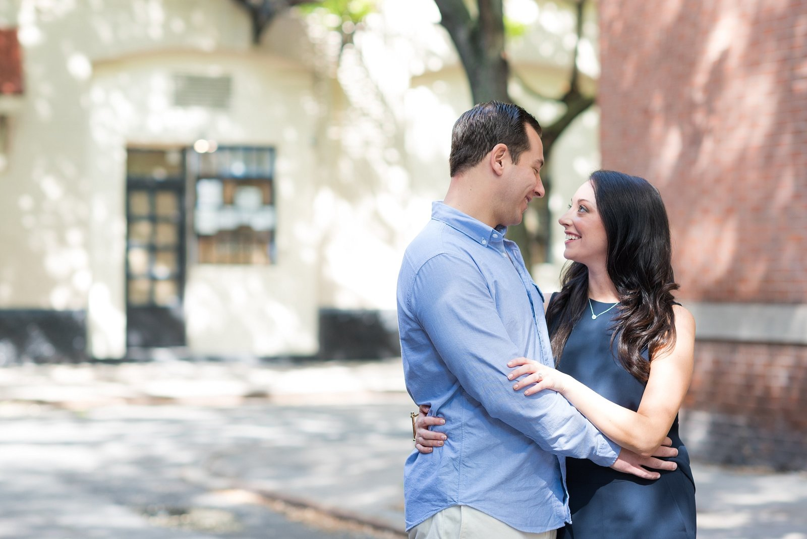 Couple Looking at Each Other during New York City Engagement Session Photo