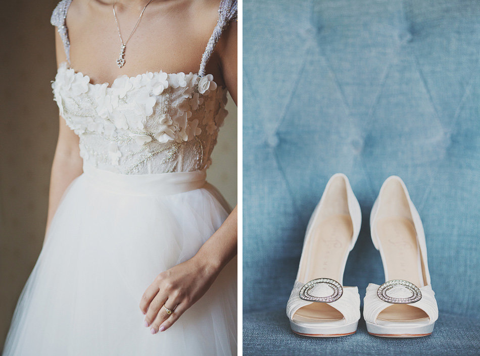 monique lhuillier wedding dress and white wedding shoes