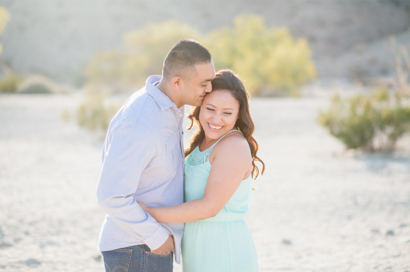 Palm desert couple engaged in the desert