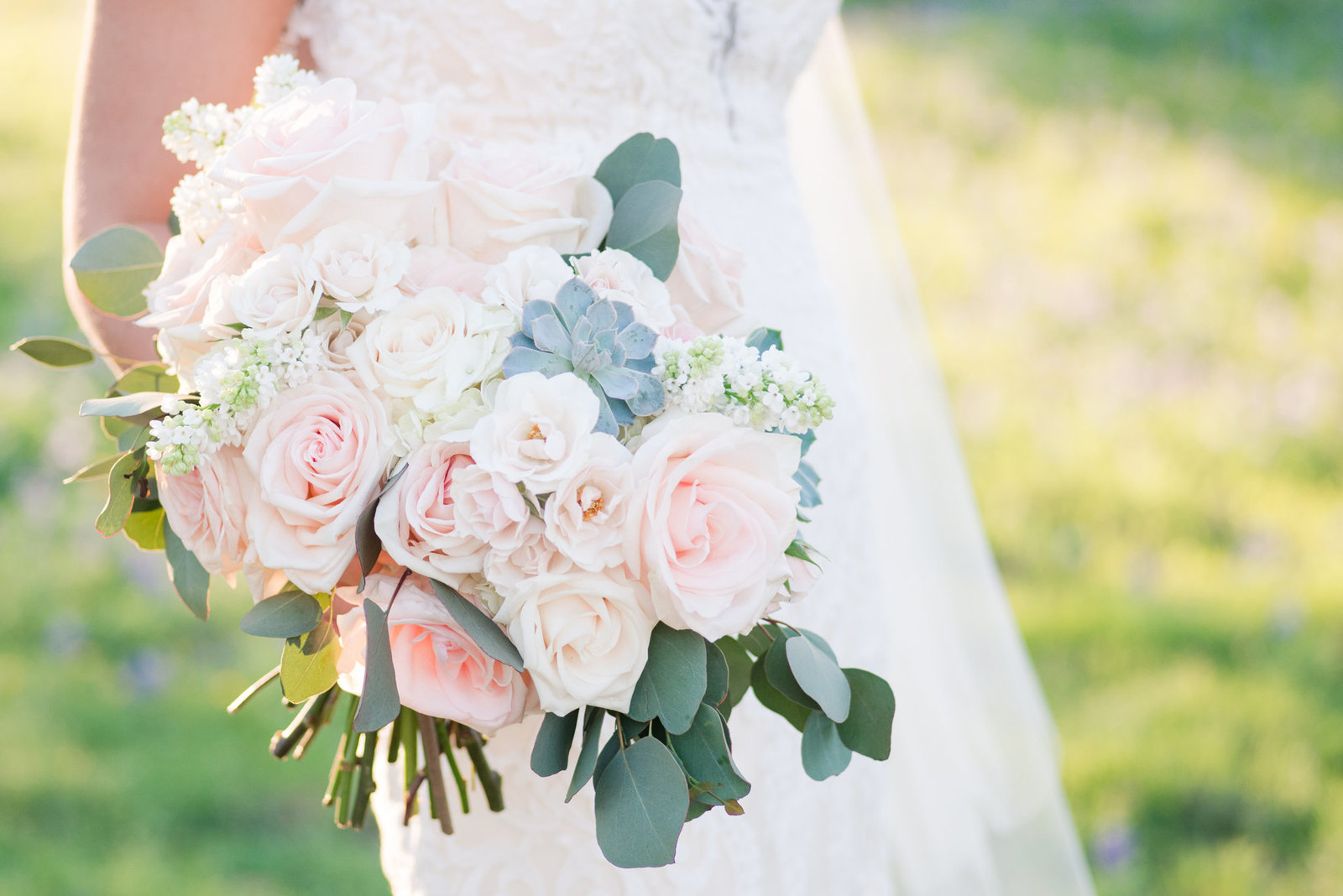 Bridal Bouquet in blush and cream with succulents by Sixpence Floral, austin wedding florist