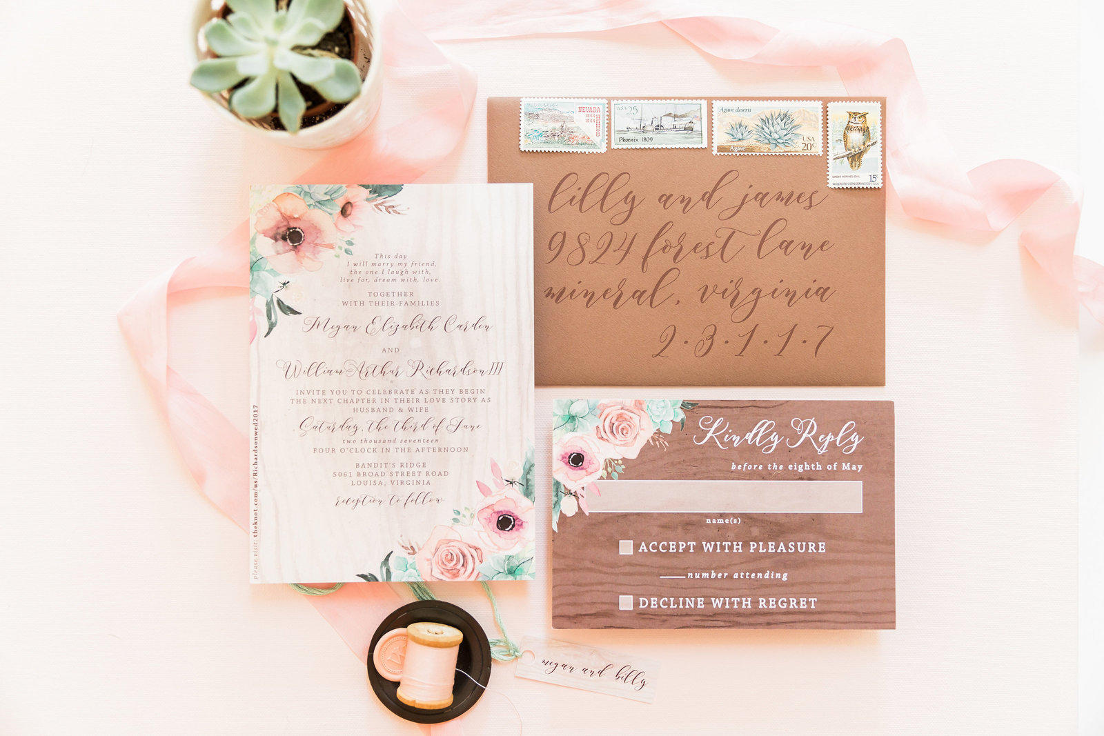 rustic pink succulent wedding invitation
