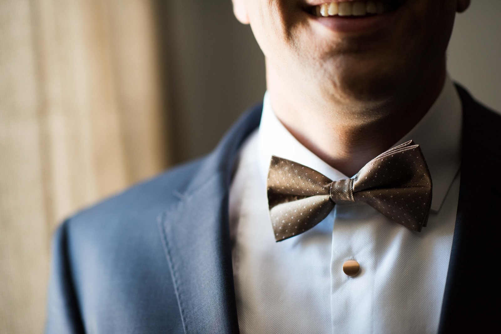Groom's bow tie on morning of Chicago wedding day.