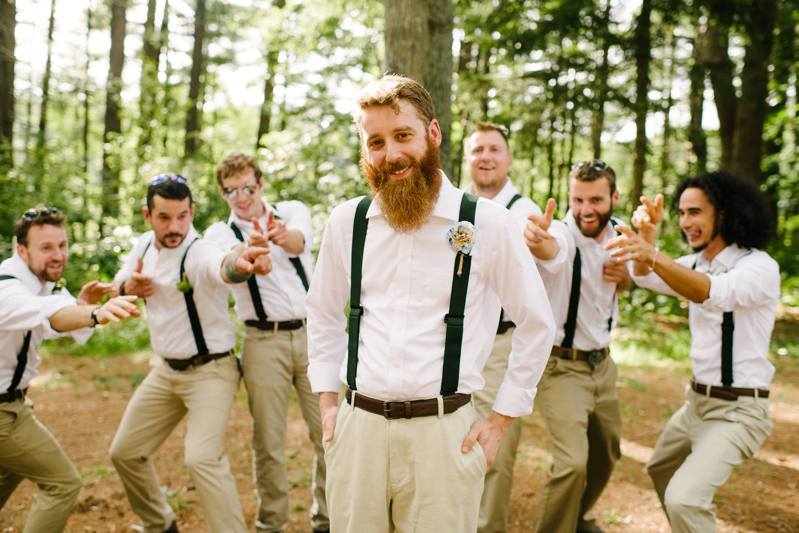 Camp Kiwanee MA bearded groom standing in front of groomsmen