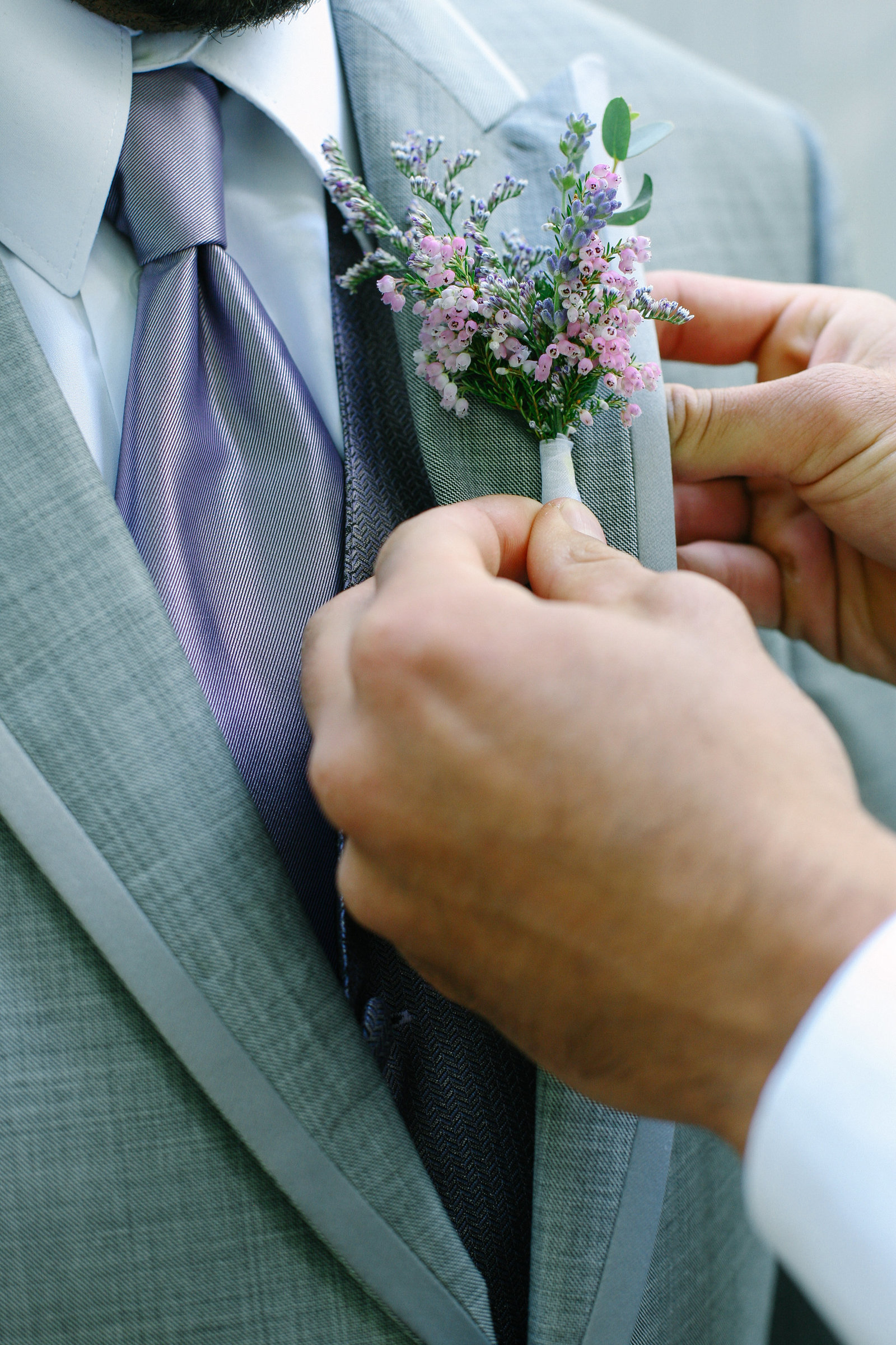 Pink and Purple Boutonniere Wedding