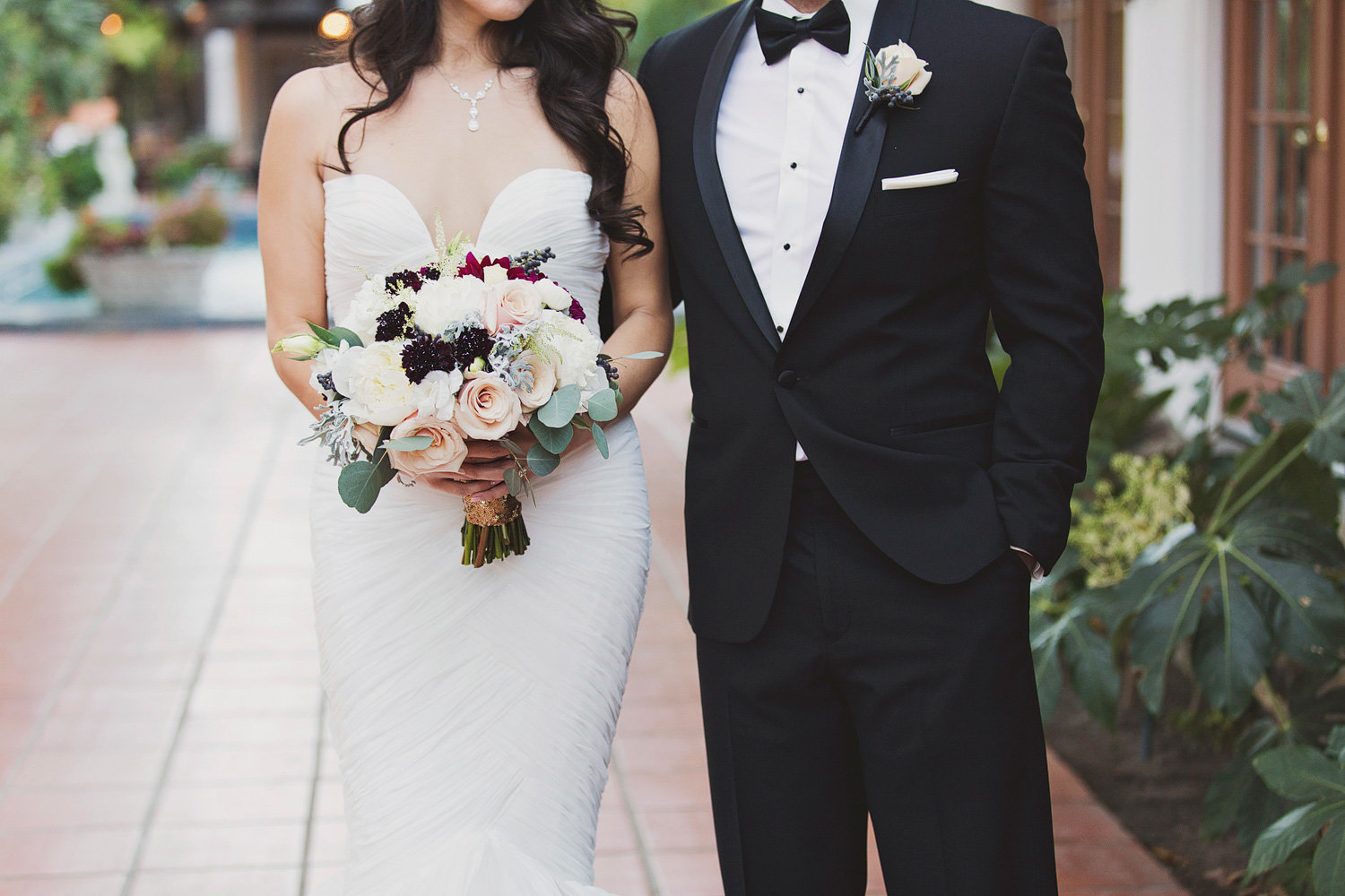 Bride and groom in black tie wedding at Rancho Las Lomas in Orange County.