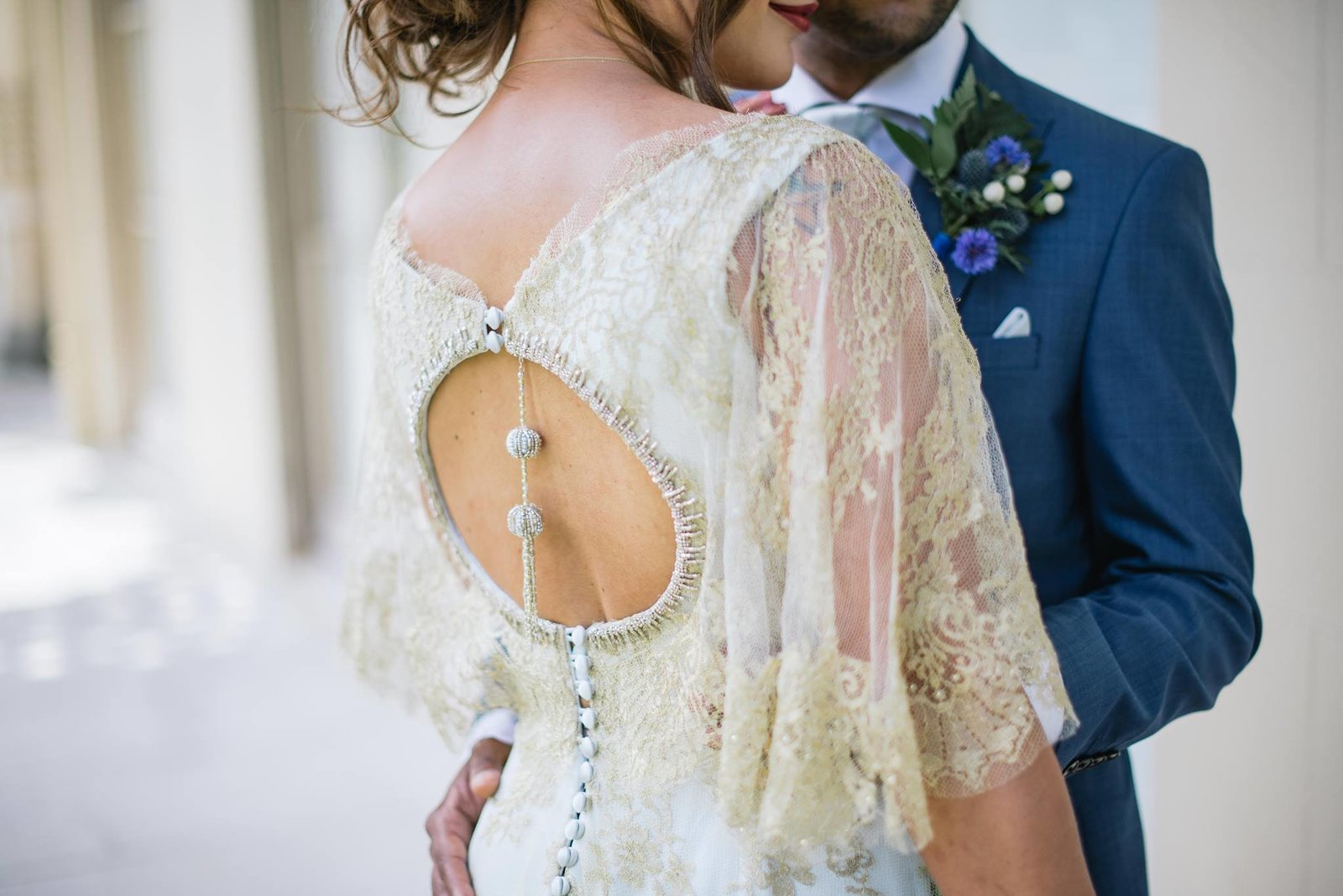 Anglo Indian fusion wedding blue and gold dress by Joanne Fleming Design, photo by Jacqui McSweeney (1)