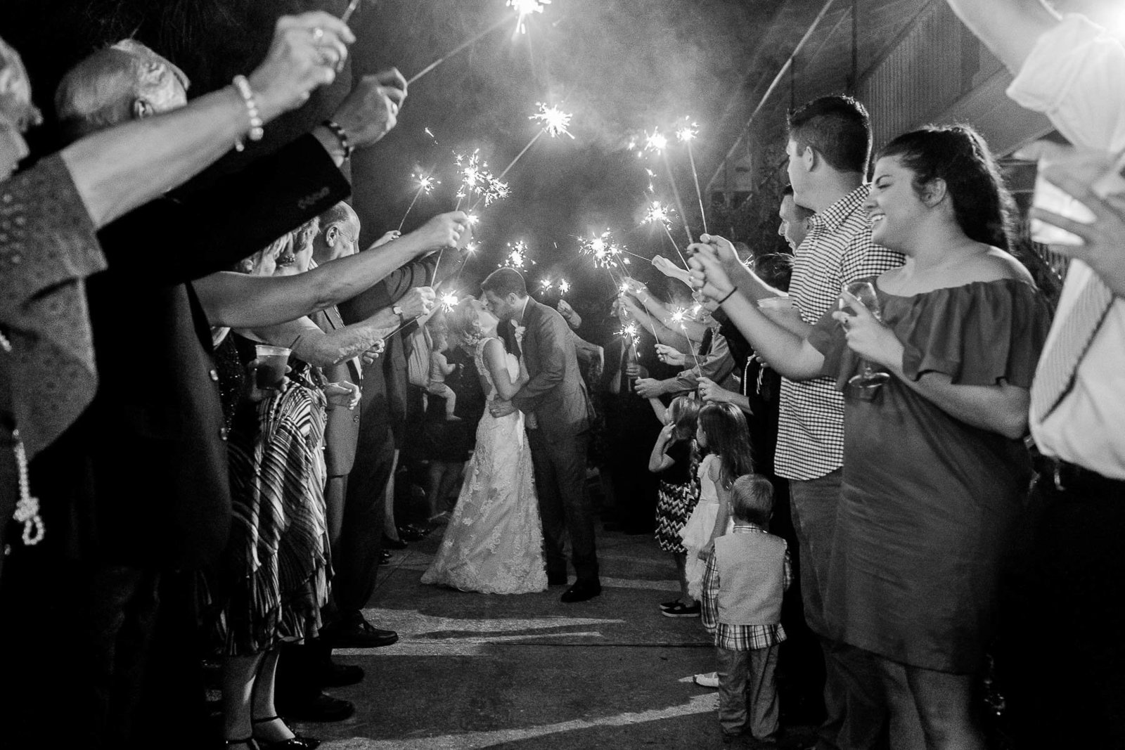 Bride and groom have sparkler exit, Alhambra Hall, Mt Pleasant, South Carolina