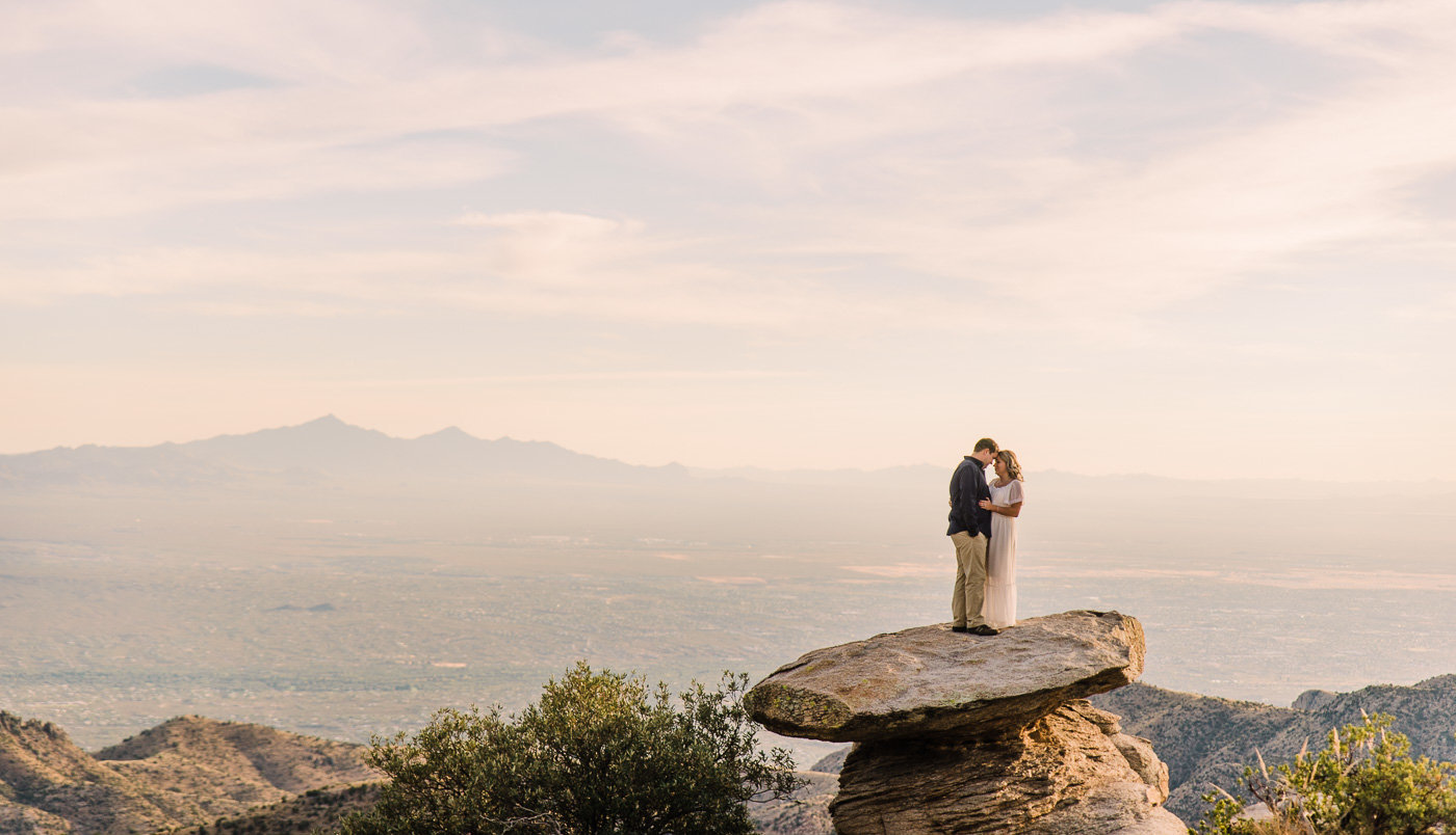 Mt Lemmon Engagement Photo by Tucson Wedding Photographer Bryan and Anh