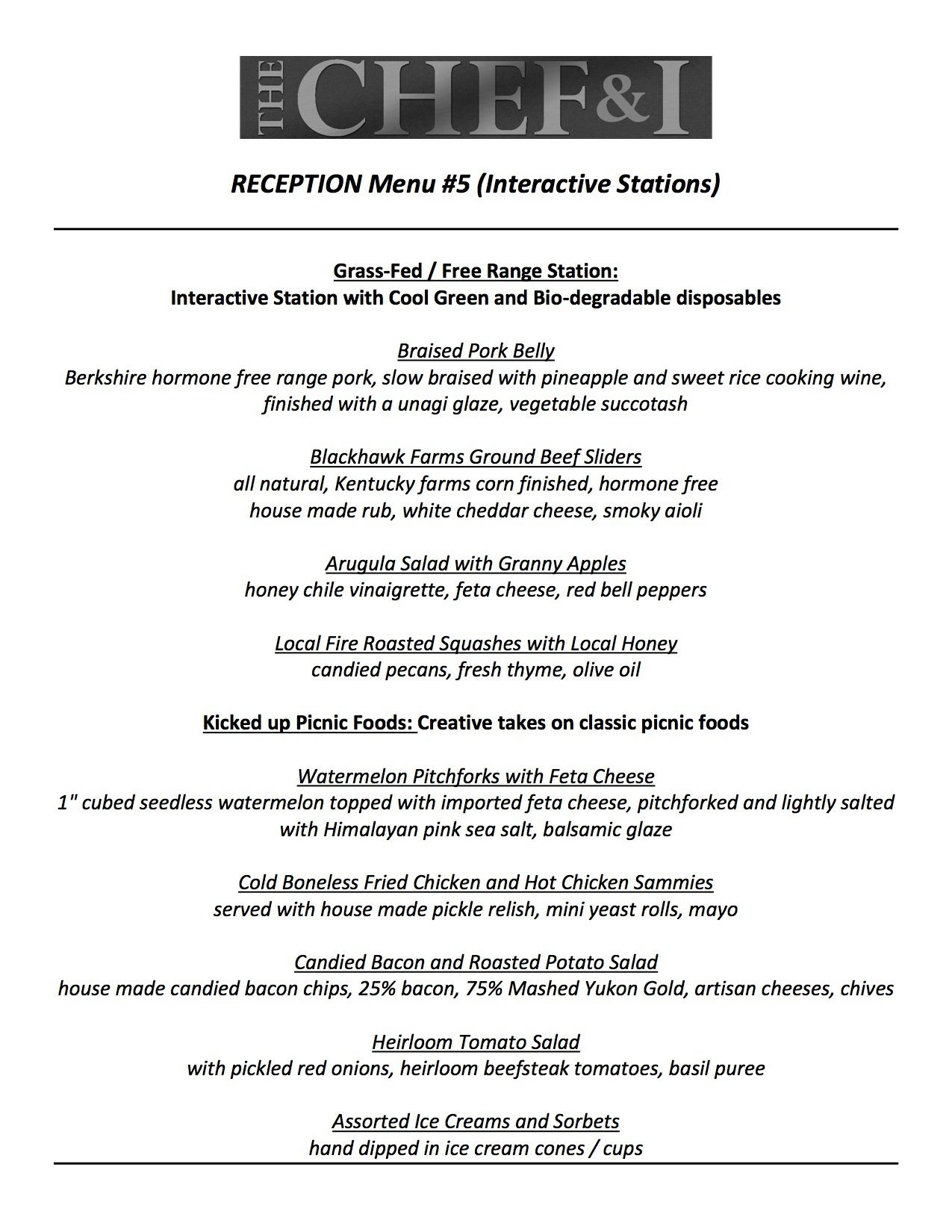 Reception Menu 5