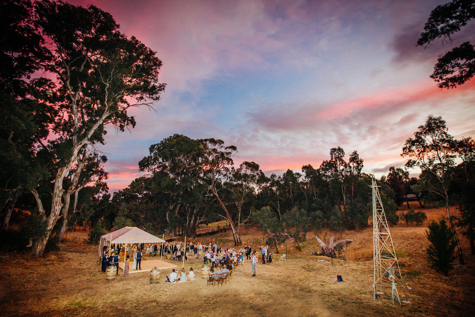 epic wedding sunset adelaide hills