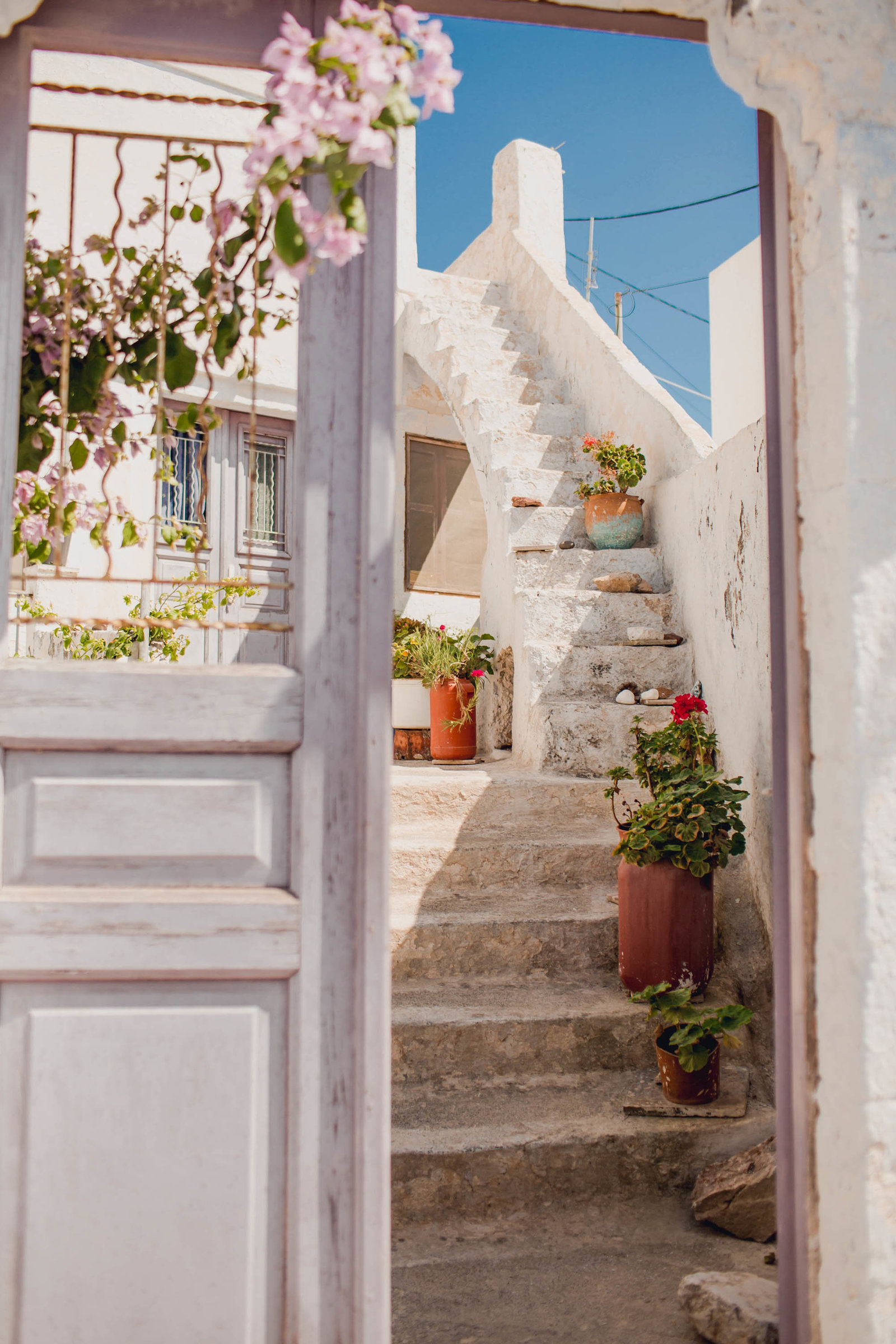 lilac-door-steps-flower-pyrgos-destination-travel-santorini-wedding-kate-timbers-photo-2729
