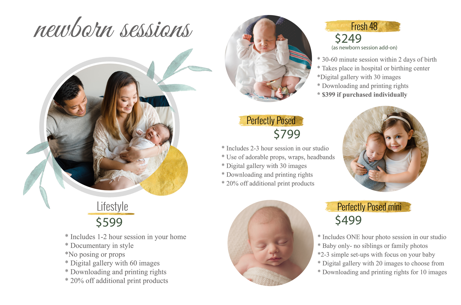 newborn pricing page