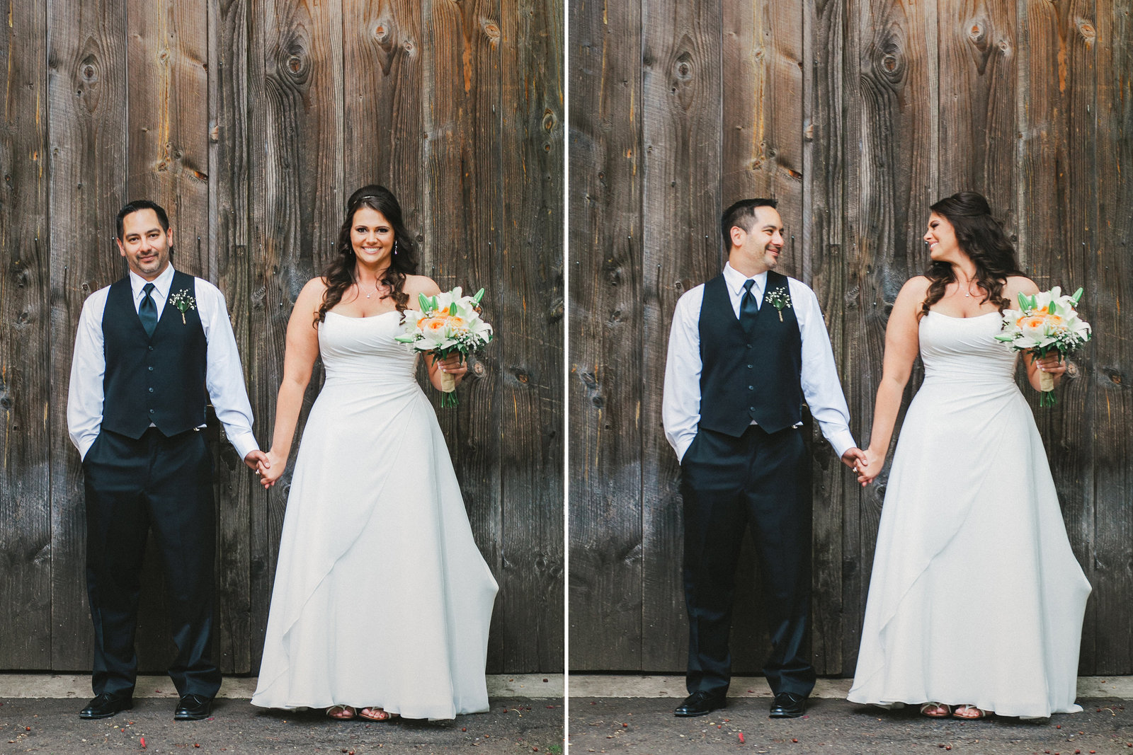 Photo of bride and groom in front of wooden barn in Oregon | Susie Moreno Photography