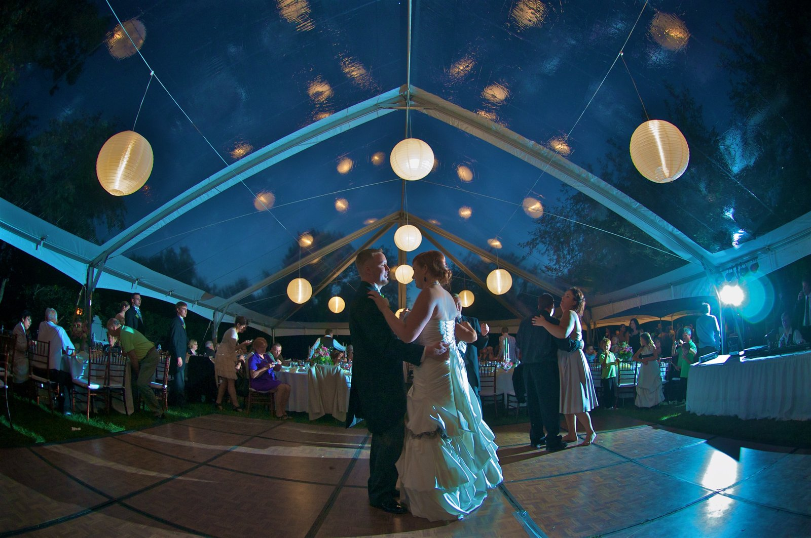 Floating Fairy Lights in a clear-roofed tent