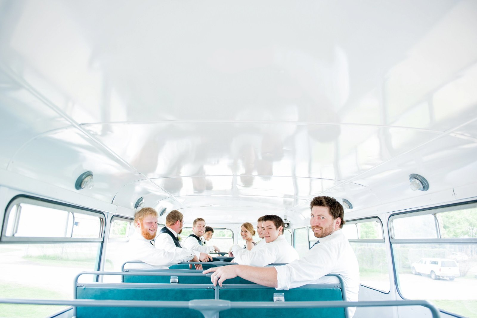 Wahpeton and Fargo party bus double decker, wedding party images by Kris Kandel