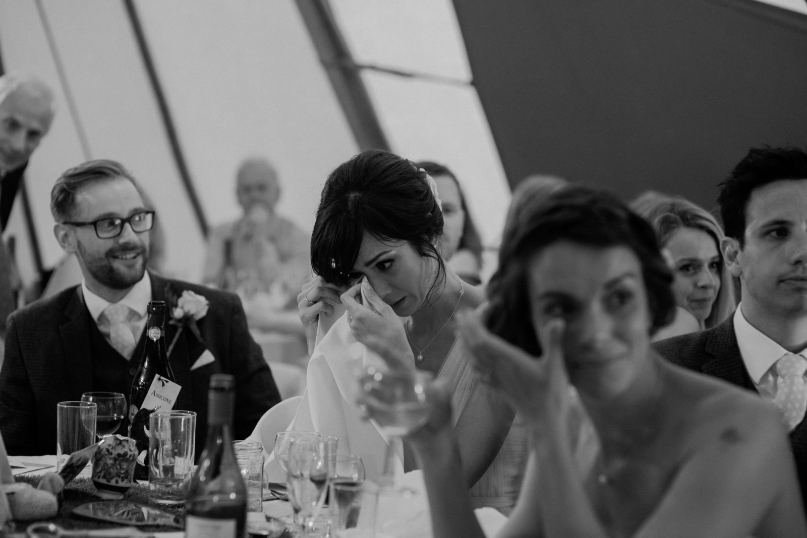 Bridesmaids crying. Tipi wedding photography