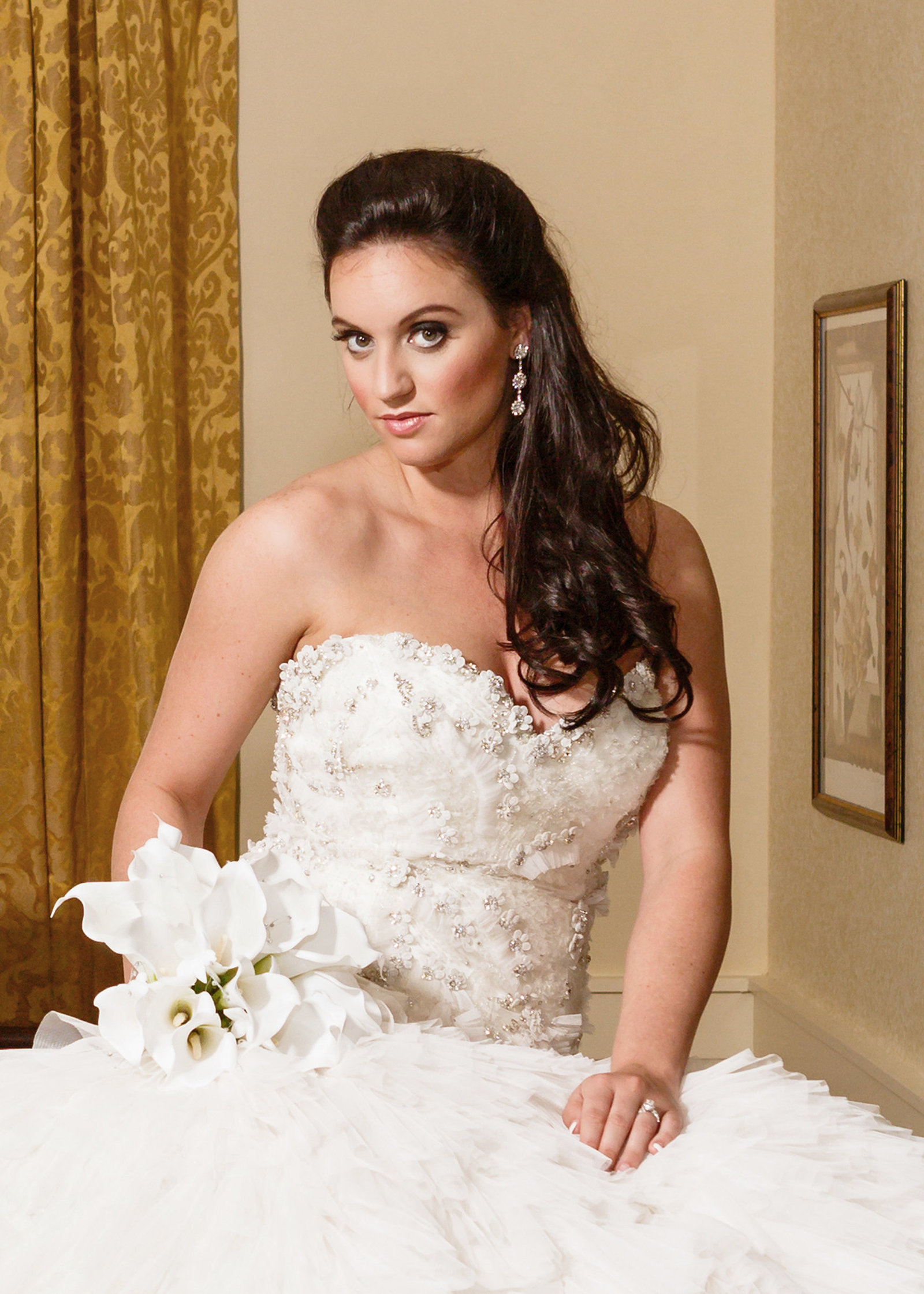 Logan Johns McConnell during her bridal portrait in the Presidential suite at The Battle House hotel in Mobile, Alabama.