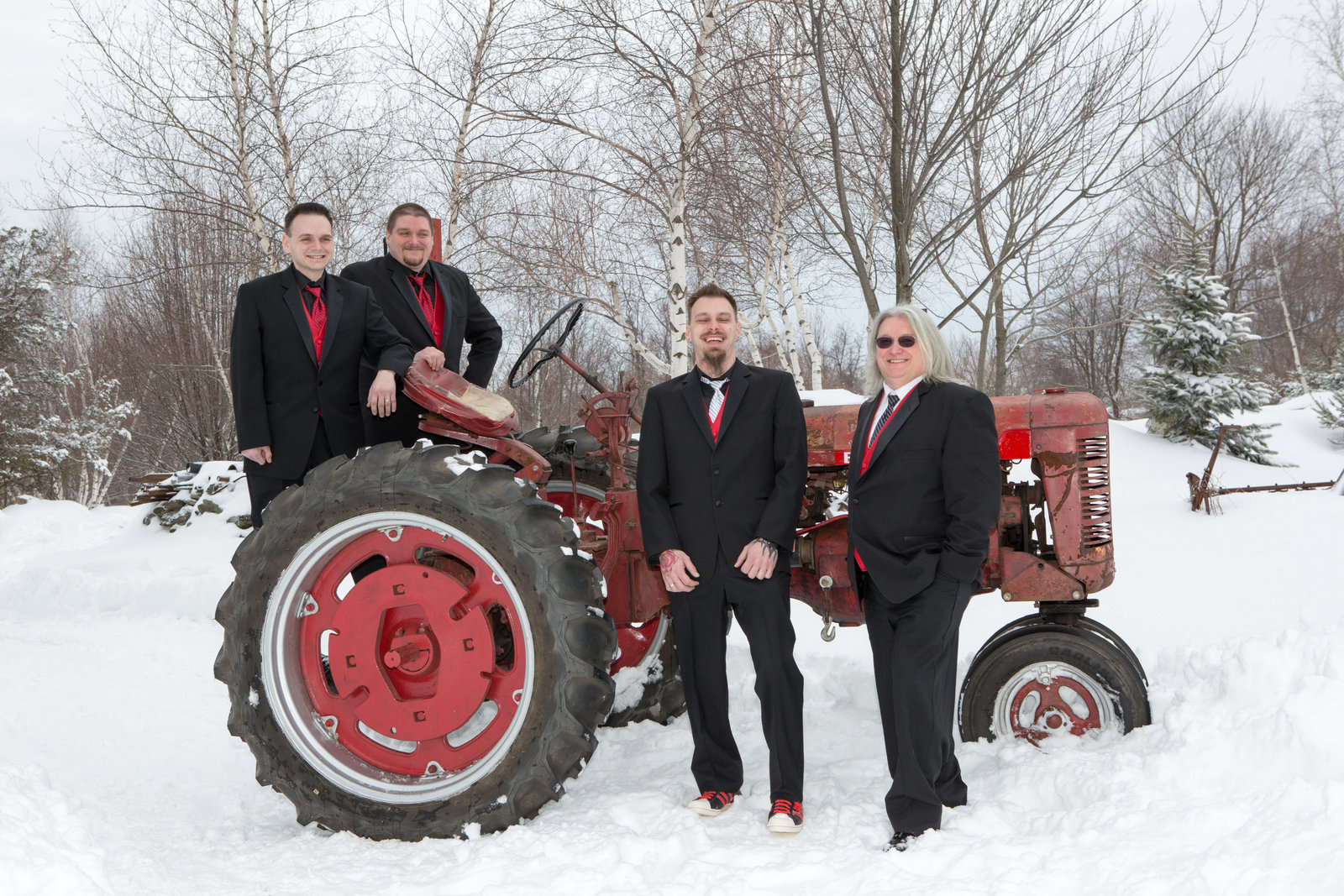 groomsmen on tractor
