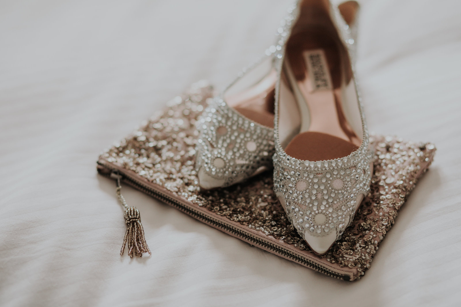 detail of flat bridal shoes at the logan hotel in philadelphia pa