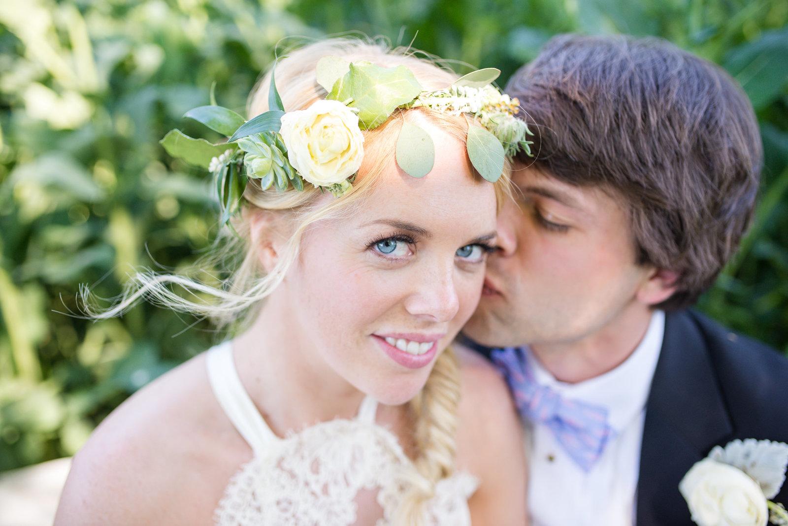 romantic boho bride and groom
