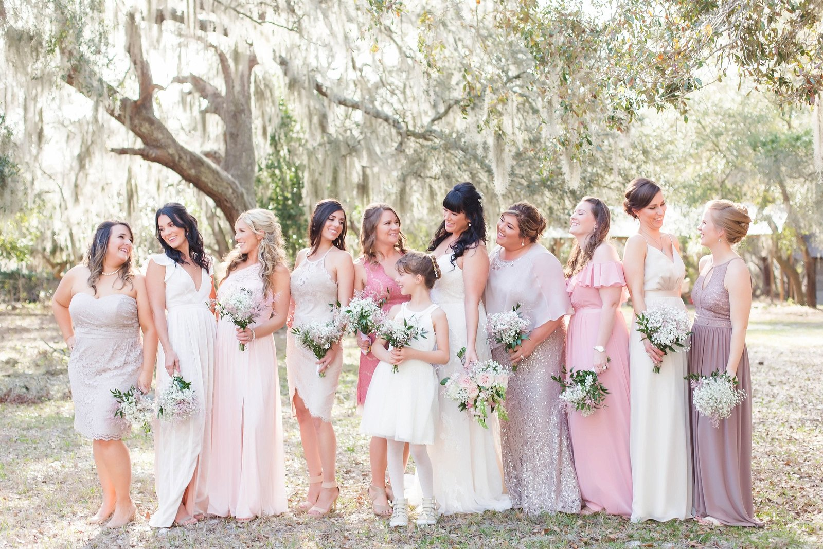 blush and ivory wedding party photo blush bridesmaid dresses wedding photography by kimberly photography