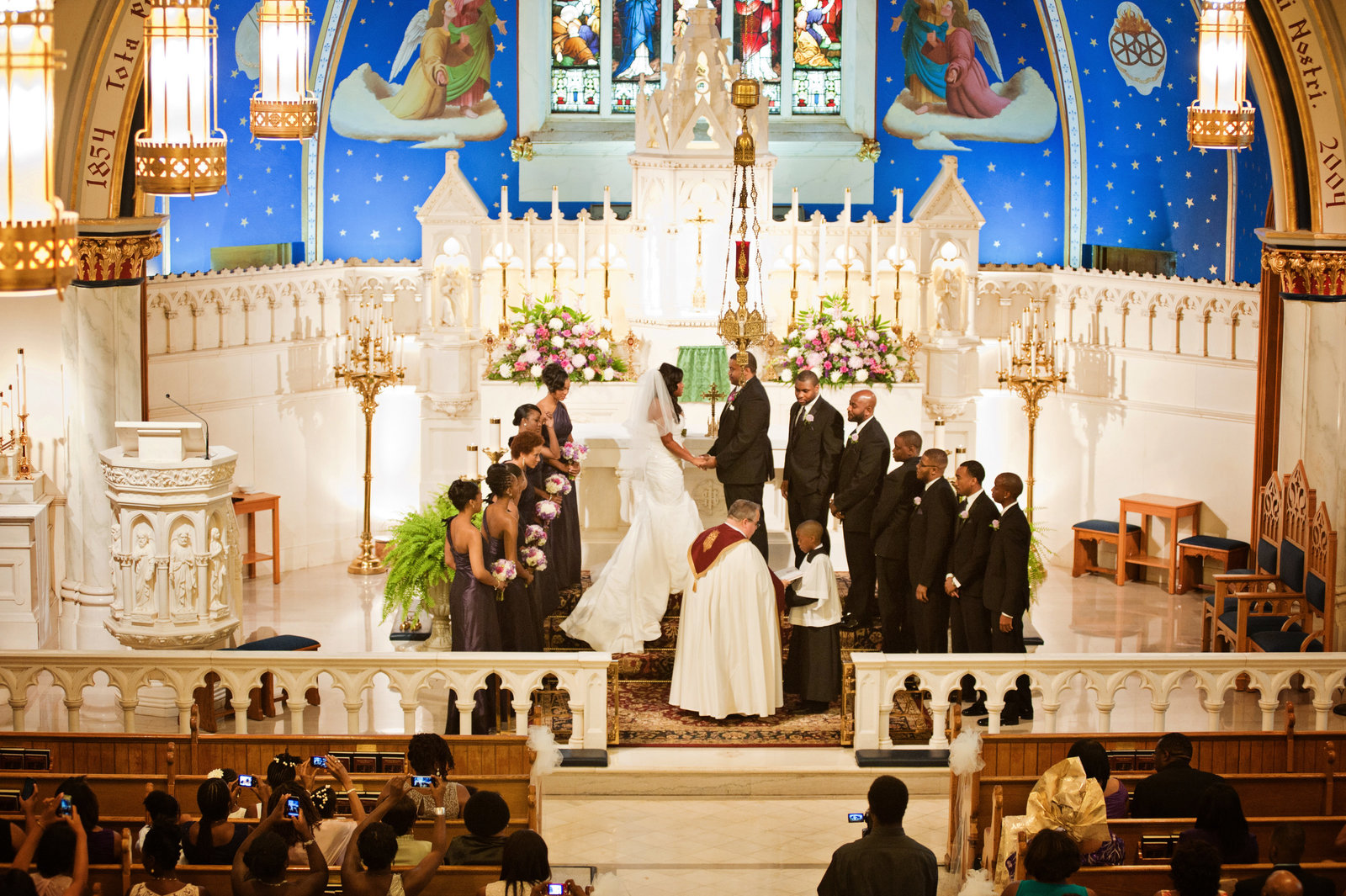 Philadelphia Wedding at Ballroom at the Ben reception ceremony at Our Lady of Lourdes in Philadelphia photo by Jen Childress Photography