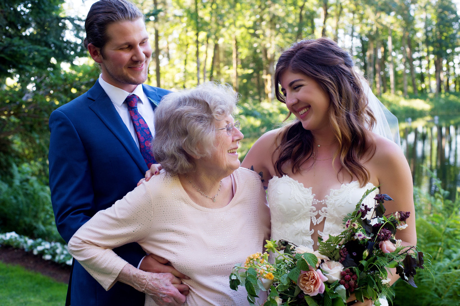 grandma looks up at bride on wedding day