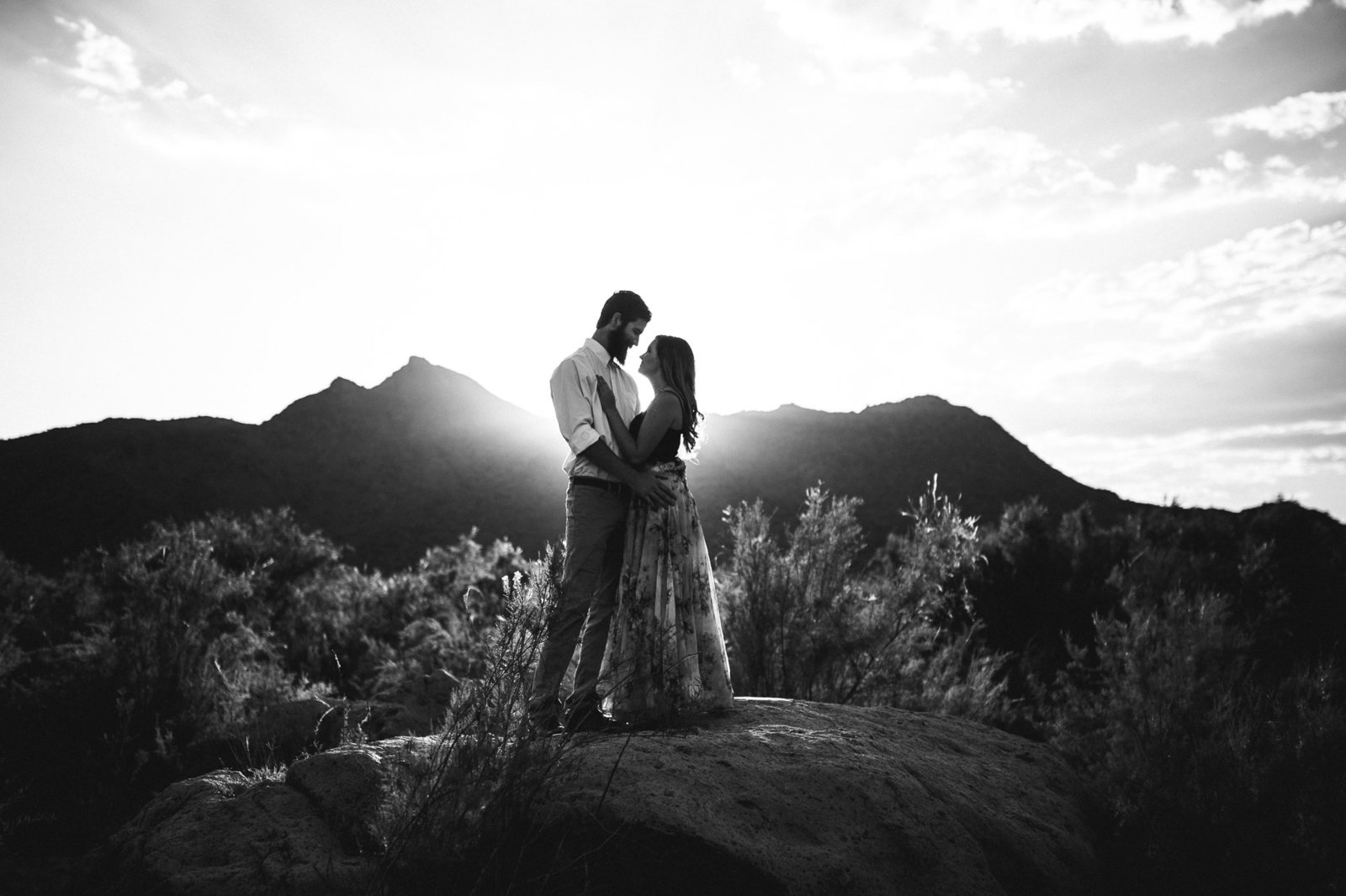 Enagagement portrait in front of a mountain in Mesa, AZ