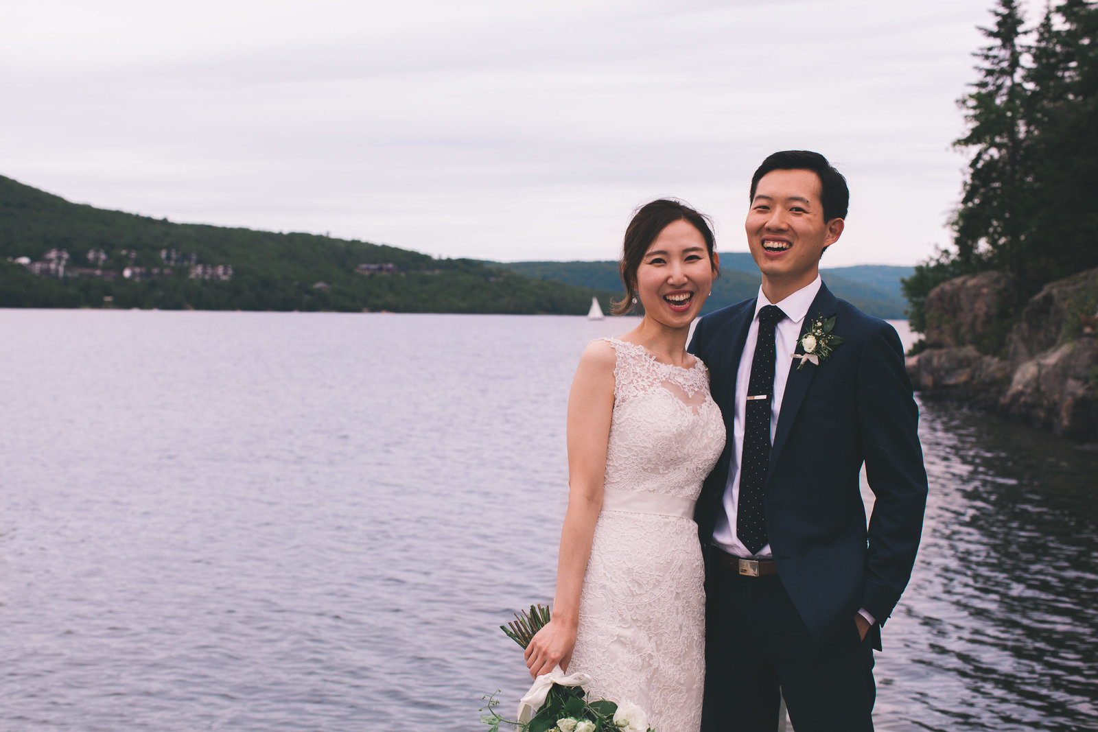 Korean couple lake wedding mount tremblant QC